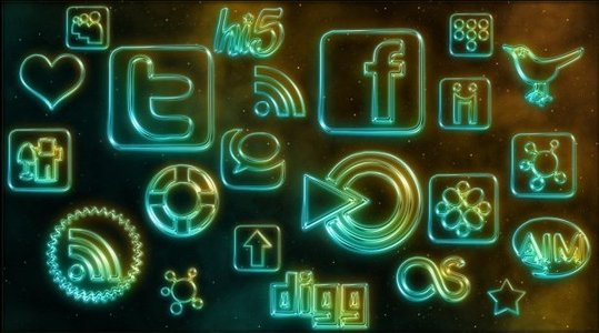 108 icones de réseaux sociaux avec effet neon
