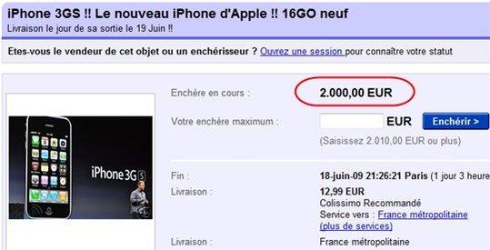 iPhone 3GS - 2000 € sur eBay !!! N'importe quoi