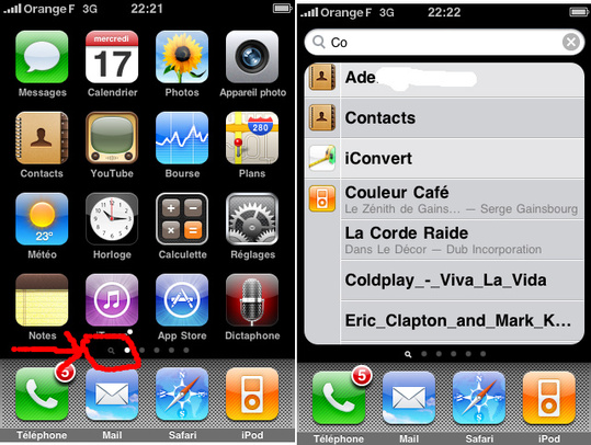 Firmware 3 iPhone - Spotlight est pas simple a trouver