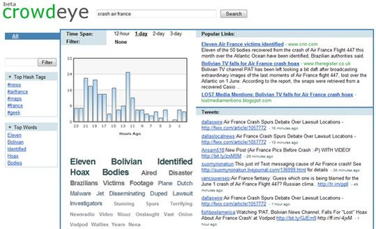 CrowdEye - Une alternative à Twitter Search