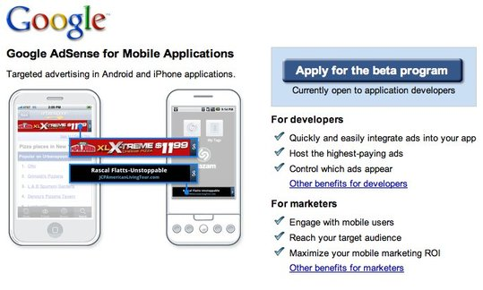 Adsense pour les applications iPhone et Android