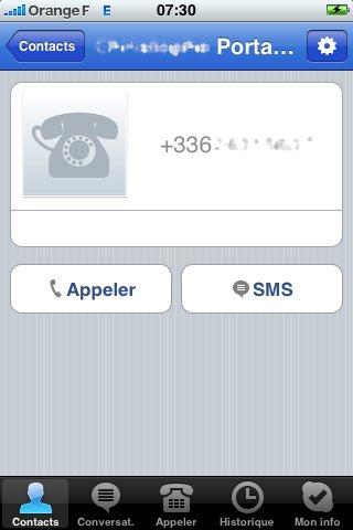 Skype iPhone - SMS et Voicemail dans la version 1.1