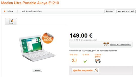 Medion Akoya E1210 à 149 € chez Orange