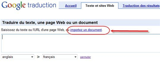 Google Traduction permet d'importer des documents à traduire