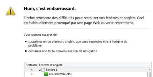 Hum, c'est embarrassant ... dit Firefox 3.5 quand il plante
