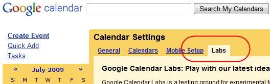 Google ajoute un Labs dans Google Agenda