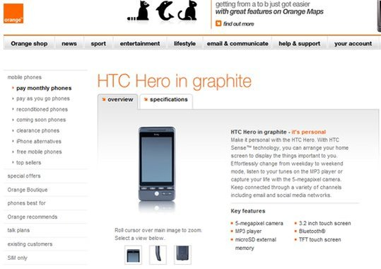 HTC Hero en vente chez Orange UK