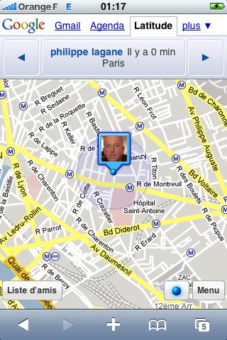 Google Latitude sur iPhone