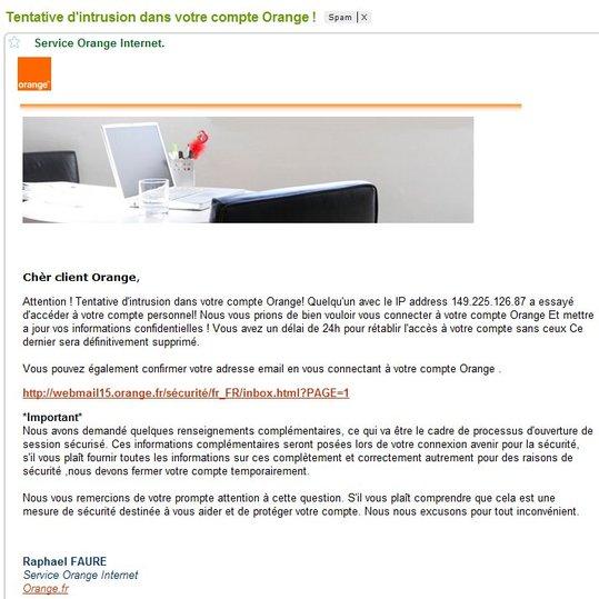ATTENTION -  Phishing sur Orange