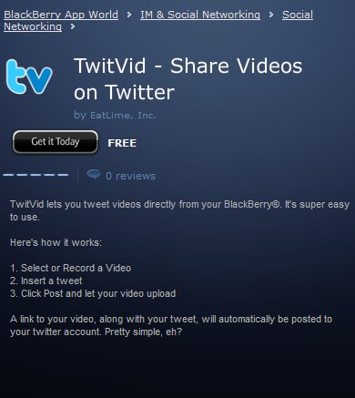 Twitvid - La partage de video sur Twitter maintenant sur Blackberry