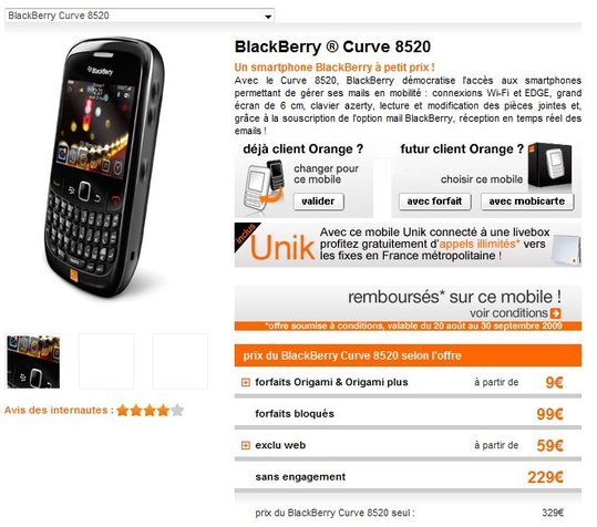 Le Blackberry Curve 8520 à 9 € chez Orange