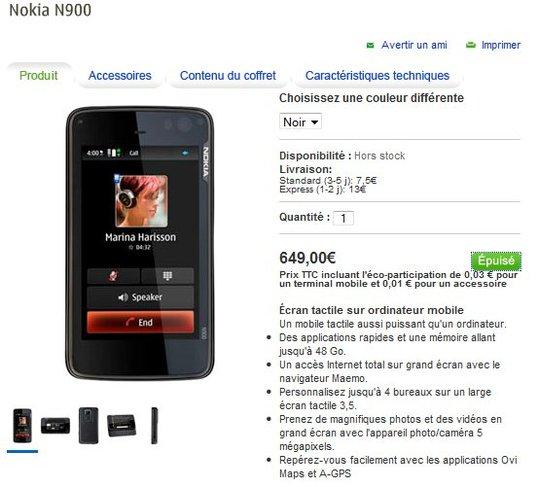 Le Nokia N900 - En France à 649 € donc plus cher qu'en Allemagne ou en Italie