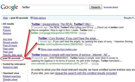 Résultats de recherche en temps réel sur Google