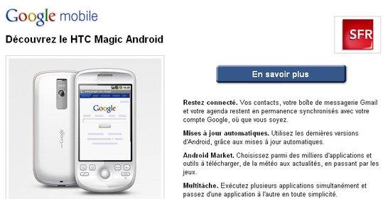 Google fait de la promo pour HTC et SFR sur sa page d'accueil