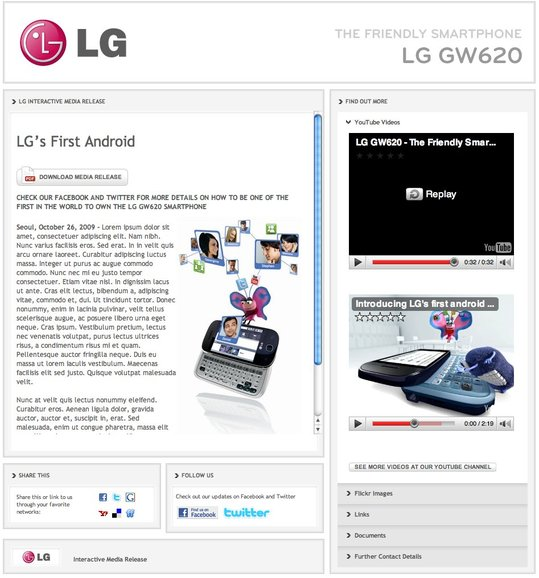 LG GW620 Eve Android - Le site officiel