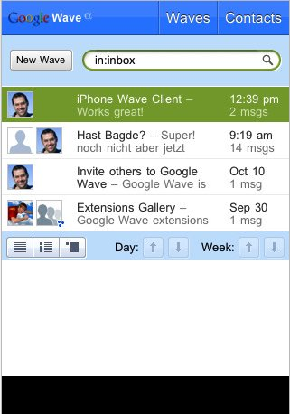 Waveboard - Google Wave sur iPhone