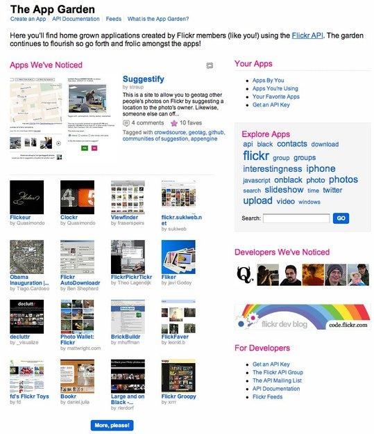 Flick App Garden - Listes des applications issue de l'API de Flickr