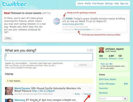 Les ReTweet arrivent sur Twitter