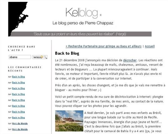 Pierre Chappaz est de retour sur Kelblog et le Web