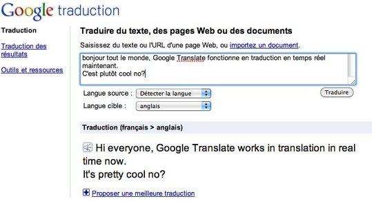 Google propose la traduction en temps réel