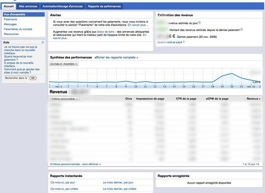 Google Adsense - nouvelle interface en Beta