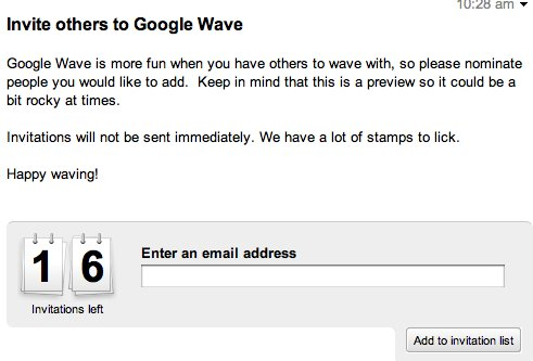 Google Wave - 16 invitations supplémentaires