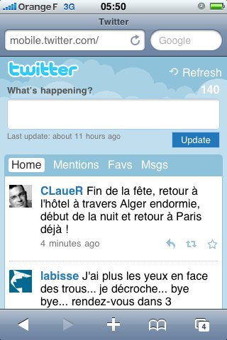 Twitter - Nouvelle version mobile du site