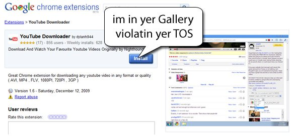 Google Chrome Extensions - On a frôlé le crime de lèse Majesté