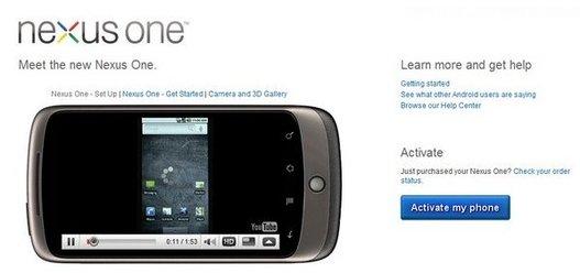 La page d'activation du Nexus One dévoilée