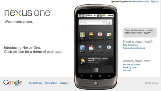 Le Nexus One n'est pas disponible en France ?