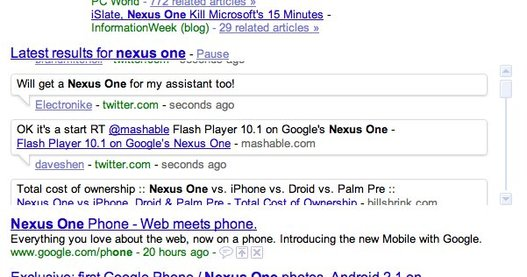 Résultats de recherche en temps réel sur Google - impressionnant