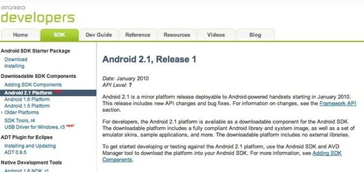 Le SDK de Android 2.1 est disponible
