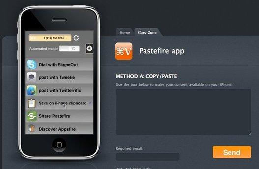 PasteFire pour iPhone - Transfert de données d'un ordinateur vers l'iPhone en 1 clic