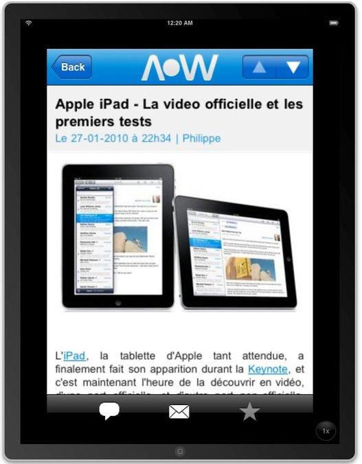L'Application AccessOWeb déjà sur l'iPad