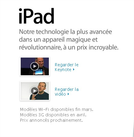 L'iPad Wifi pour fin mars en France et l'iPad 3G en avril