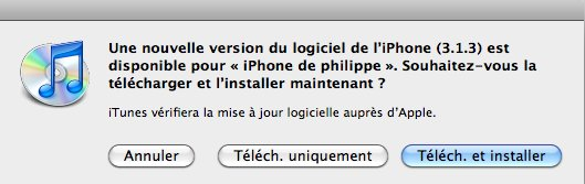 Télécharger le Firmware 3.1.3 iPhone