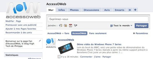 La page Fan d'AccessOWeb sur Facebook