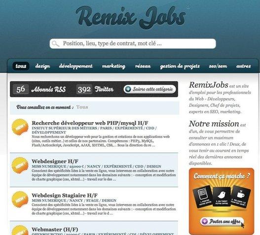 Remix Jobs - Offre d'emploi en temps réel via les réseaux sociaux