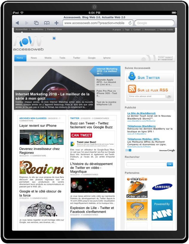 AccessOWeb sur l'iPad