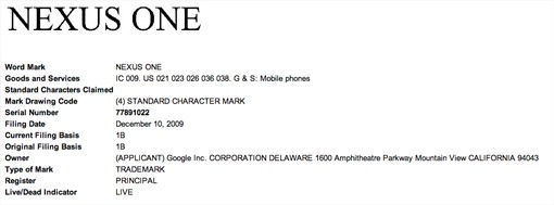 Le Nexus One de Google  risque bien de changer de nom