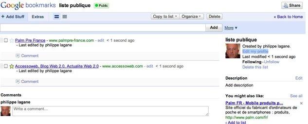Google Bookmarks - Les listes publiques