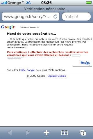 Impossible d'atteindre Google.fr depuis mon iPhone