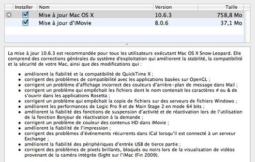 Mac OS X 10.6.3 disponible
