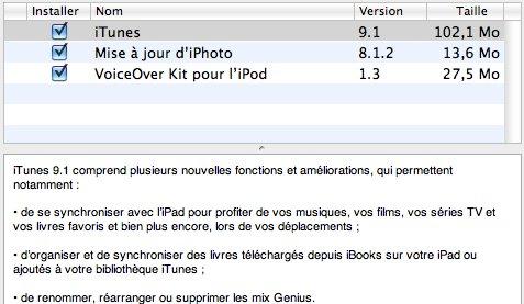 iTunes 9.1 avec de l'iPad dedans