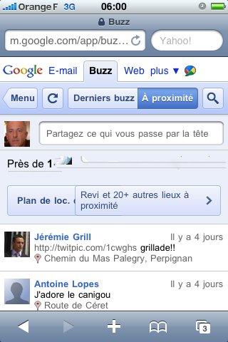 Google Buzz Mobile intégré à Gmail Mobile