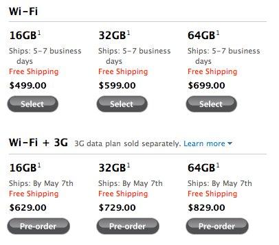 iPad 3G - Les prix US
