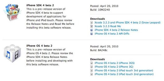 iPhone OS 4 Beta 2 est disponible