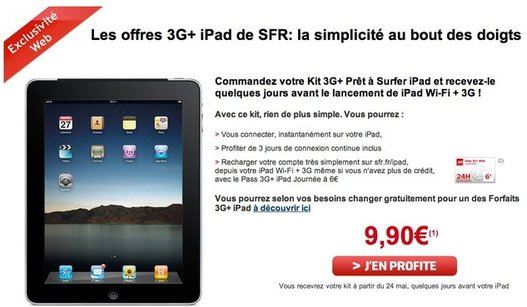 sfr propose un kit 3g pr t surfer ipad 3g pour 9 90. Black Bedroom Furniture Sets. Home Design Ideas