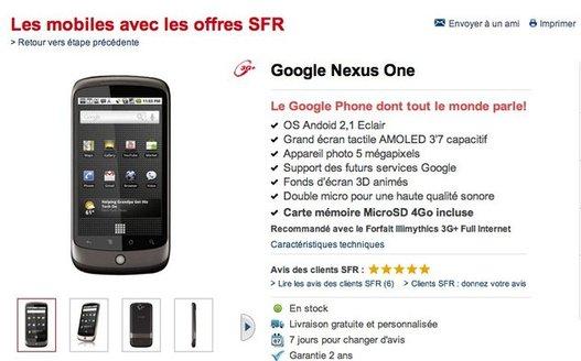 Le Google Nexus One chez SFR aujourd'hui et non simlocké ?