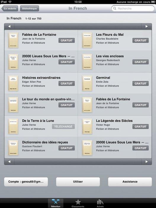 iBookStore pour iPad - Plus de 700 livres gratuits en français
